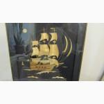 Панно декоративное из соломки Фрегат Паллада