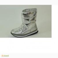 Сапоги дутики женские серебро С302