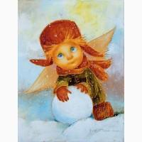 Картина маслом для интерьера Зимние радости в детскую комнату