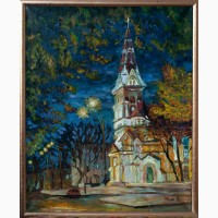 Картина маслом: Одесская кирха ночью
