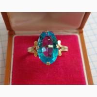 Кольцо с голубым камнем, серебро 875, позолота СССР