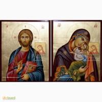 Венчальная пара: икона Сладкое Лобзание и Иисус Христос. Рукописные иконы
