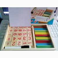 Деревянная игрушка набор первокласника, счетные палочки, досточка, маркер, цифры в коробке