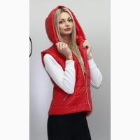 Женская стеганная жилетка с капюшоном Кр 2