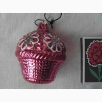 Елочная игрушка Корзинка с цветами (СССР)