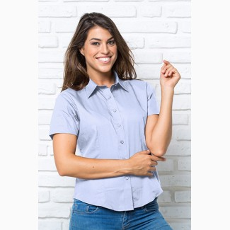 Рубашка женская для официантас коротким рукавом JHK SHRL, голубая