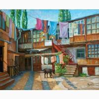 Картина маслом Одесский дворик 40х50см
