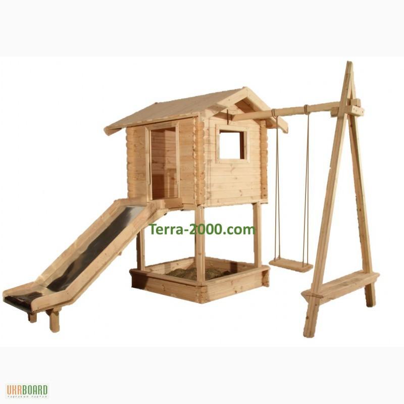 Детские игровые домики из дерева для дачи своими руками