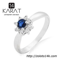 Золотое кольцо с сапфиром и бриллиантами 0, 12 карат ...