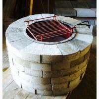 Уличный очаг, садовый камин-мангал каменный круглый