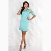 Короткое нарядное платье мятного цвета