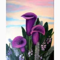 Картина масло холст Фиолетовые каллы