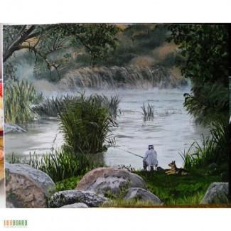 Картина Рыбалка холст, масло, 40х50 см