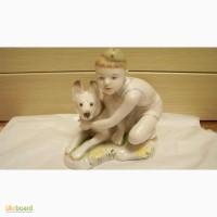 Продам статуэтка Мальчик с собакой Юный пограничник 11 см