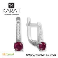 Серебряные серьги с натуральным рубином 1, 00 карат и цирконами. Новые (Код: с1008)