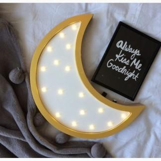 Деревянный LED ночник Луна