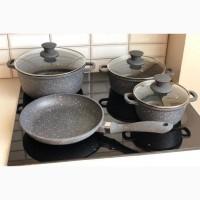 Набор посуды с мраморным покрытием, кастрюля, сковорода