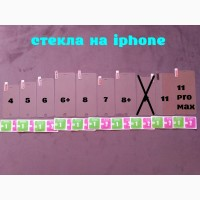Стекло закаленное на iphone 4, 5, 6, 6+, 7, 7+, 8, 8+11, 11 Pro Max защита экрана