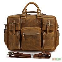 Продается эксклюзивная большая мужская кожаная сумка, винтажная лошадиная кожа, ...