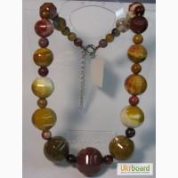 Бусы -яшма - мукаит, натуральный камень, Камень натуральный