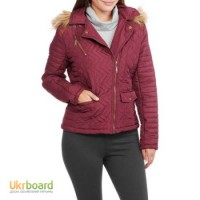 Maxwell Studio Women#039;s Quilted Chevron Puffer Coat With Fur-Trim Hood