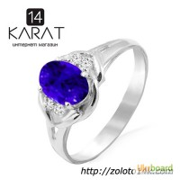 Золотое кольцо с натуральным сапфиром и ... , 08 карат 16, 5 мм. Белое золото