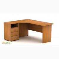 Угловые офисные столы. Угловые однотумбовые столы. Угловые столы на металлических опорах.