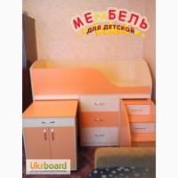 Кровать детская с выдвижным столом, ящиками и выдвижной лестницей-комодом (дл1) Merabel