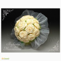 Свадебный букет из атласных лент «Розайвори»
