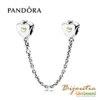 Оригинал шарм PANDORA 8213; защитная цепочка сердце 791878