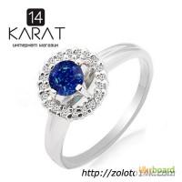 Золотое кольцо с натуральным сапфиром и бриллиантами 0, 10 карат 16, 5 мм. Белое золото
