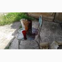 Ваза для цветов советская хрусталь, б/у, плоские, чешское стекло, фиолетов