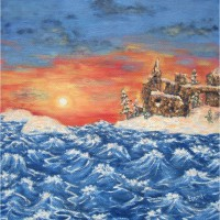 Картина масло холст закат над замком