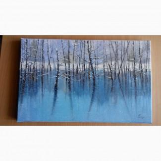 Продам картину маслом Голубое озеро