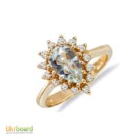 Золотое кольцо с топазом и бриллиантами 0,28 карат 16 мм. НОВОЕ