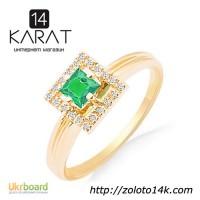 Золотое кольцо с натуральным изумрудом и бриллиантами 0, 08 карат 16, 5 мм. Желтое золото