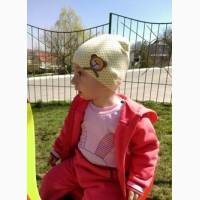 Детская шапка с мишкой 0-12 месяцев, весна осень лето