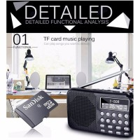 Радио цифровое поддержка Micro SD карты Фонарик Батарея на 8 часов