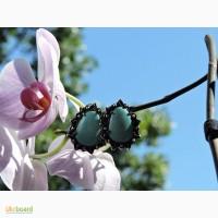 Серебряные серьги, кольцо с натуральной бирюзой