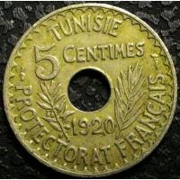 Тунис 5 сантим 1920 год