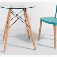 Кухонный стеклянный стол Имз круглый 80см диаметр на деревянных ножках