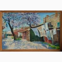 Картина маслом Одесский двор 30х58см
