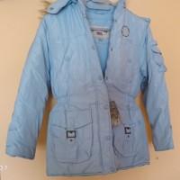 Куртка детская. Us Polo. США. голубая с капюшоном. 10-12 лет