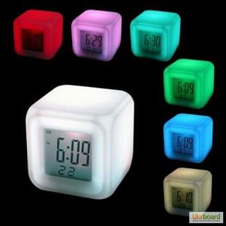 Электронные настольные часы с подсветкой LED Color Change