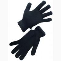 Перчатки вязаные двойные полушерстяные, цвет черный