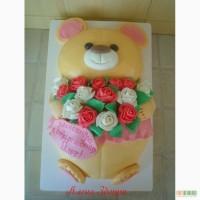 Детский торт Мишка с букетом роз