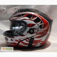 Мотошлем FGN Helmet трансформер с очками, рисунок огонь. Акция