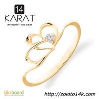 Золотое кольцо в форме сердца с бриллиантом 0, 03 карат 16, 5 мм. НОВОЕ (Код: 16138)