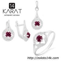 Серебряный набор с натуральным рубином 2, 00 карат. Кольцо, серьги и кулон. НОВЫЕ Код: 1025