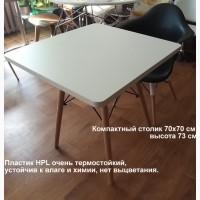 Белый квадратный стол 70х70см стол Квадро прочный HPL экопластик